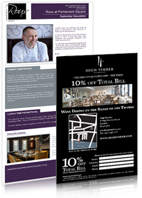 Restaurant Email Marketing Service - example includes Roux at parliament Sqaure Restaurant and High Timber Restaurant London