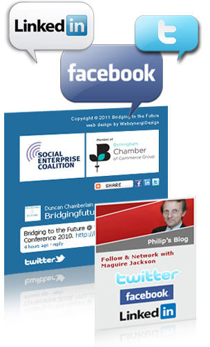 Social Media Integration Service - example includes Bridging to the Future and Maguire Jackson