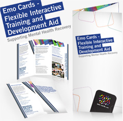 EMO cards, a flexible interactive training and development aid leaftlet design promotional materials