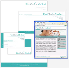 Branding, Corporate Stationery design & web design for First Choice Medical, Consultant Surgeons