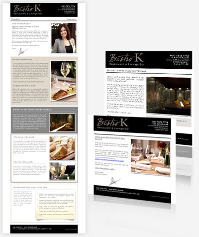 Bistro K London Restaurant - Cloud Based HTML Email Campaigns