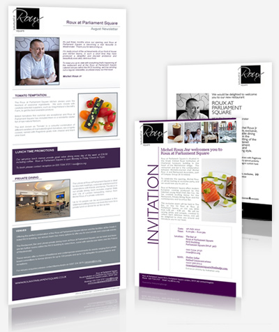 Roux at Parliament Square London Restaurant - Newsletter Design