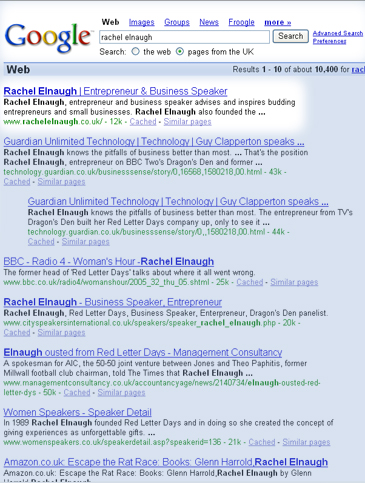 SEO results for web design birmingham UK