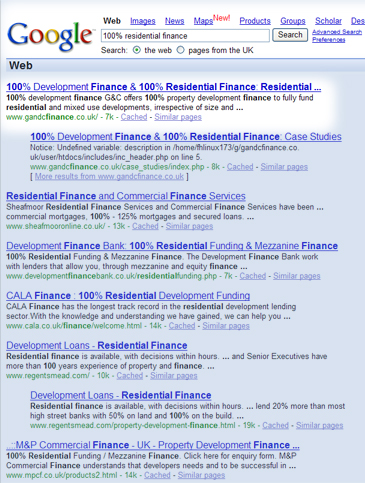 search engine optimisation G&C Finance